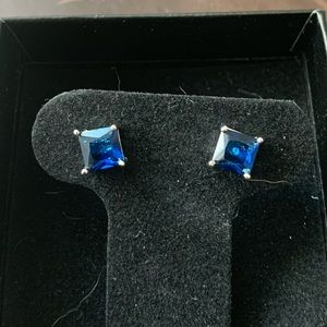 New! Square Sapphire Stud Earrings